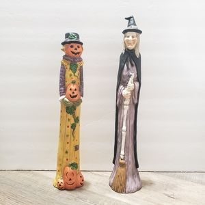 Spooky Halloween Figurines Pumpkin-girl and Witch